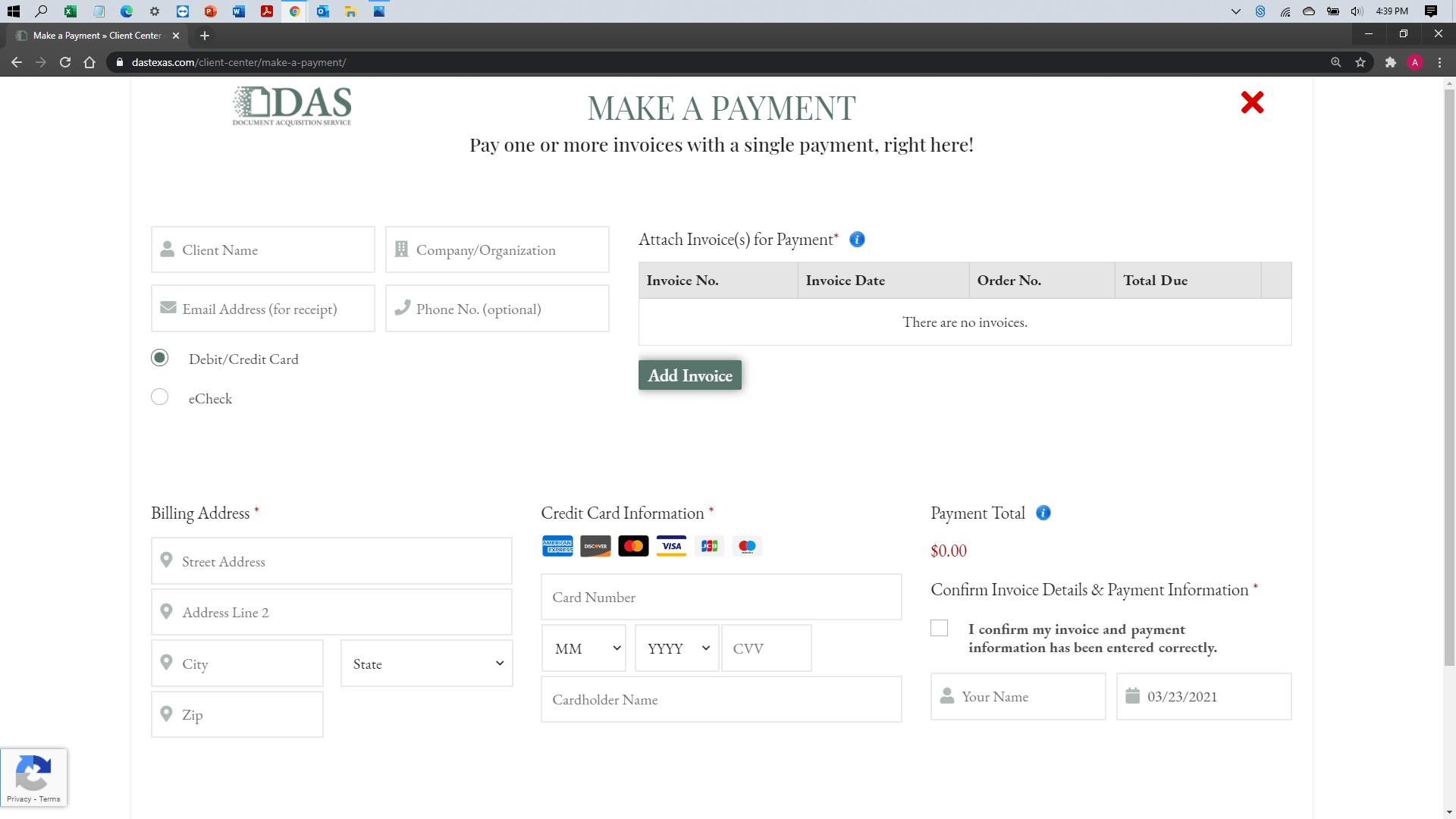[help docs] Make a Payment - Credit Debit - Blank