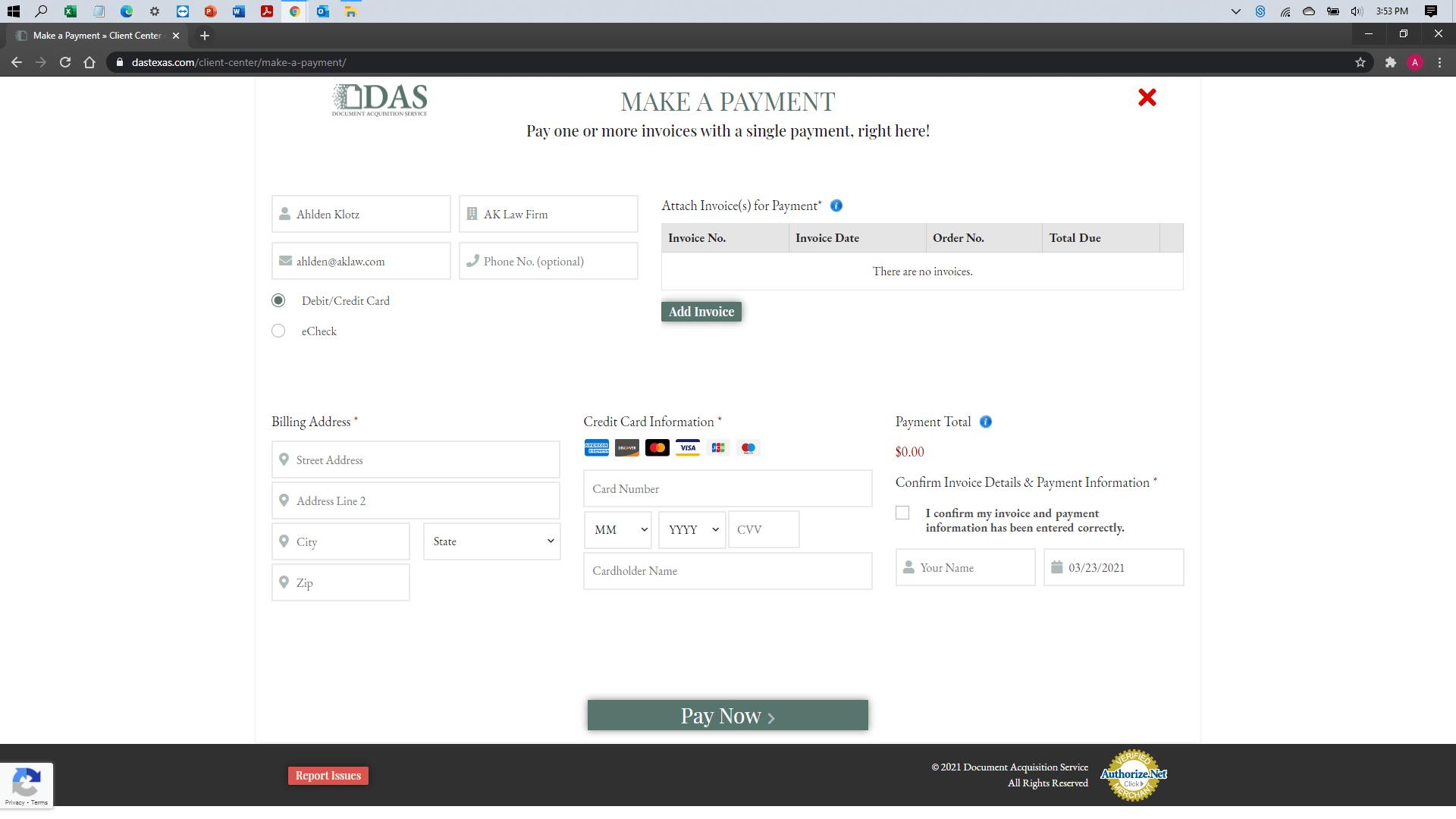 [help docs] Make a Payment - Credit Debit - Client Details Entered