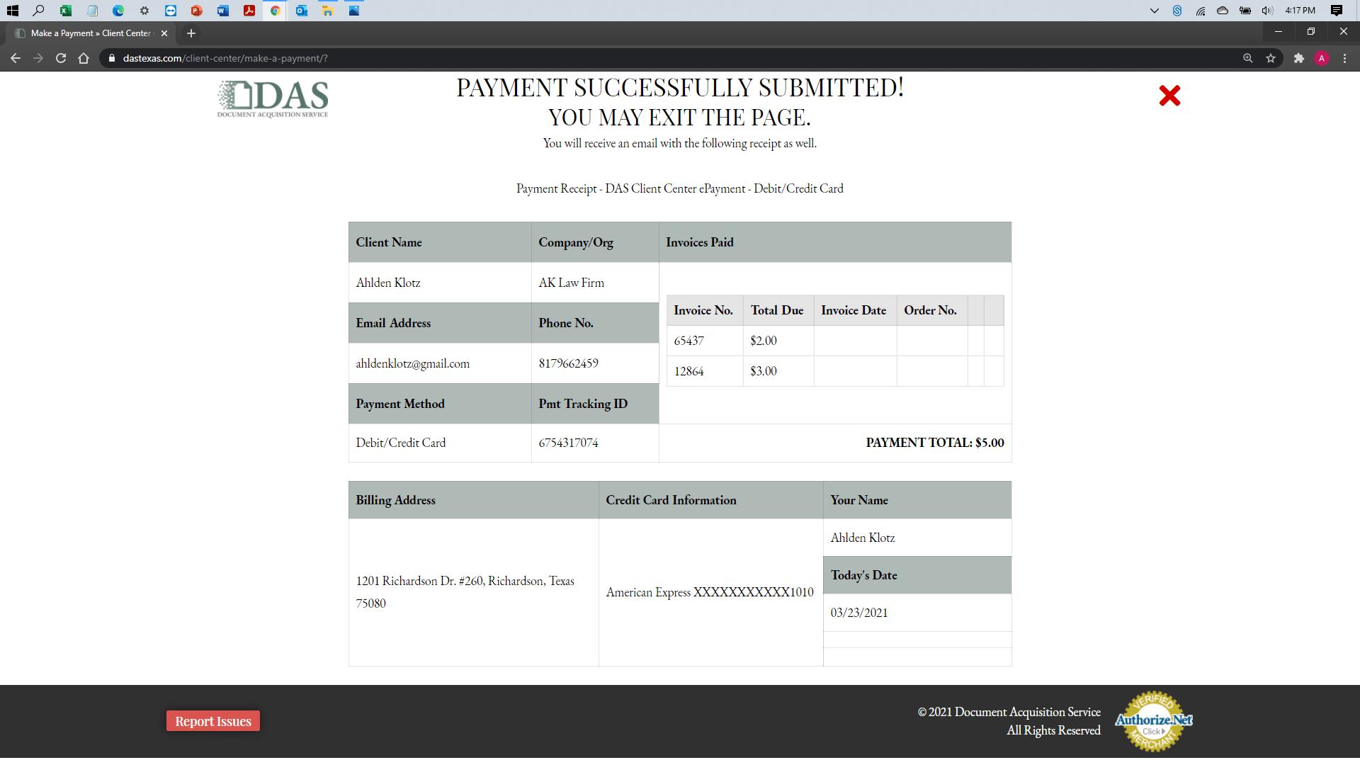 [help docs] Make a Payment - Credit Debit - Payment Success