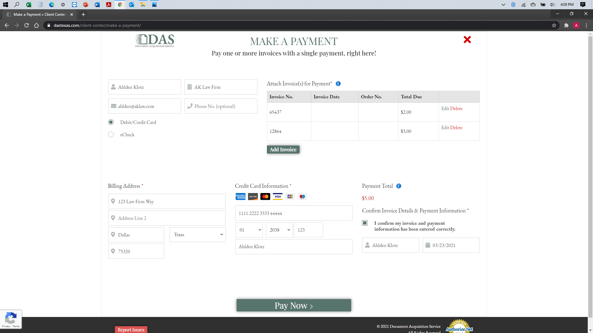 [help docs] Make a Payment - Credit Debit - Ready to Submit