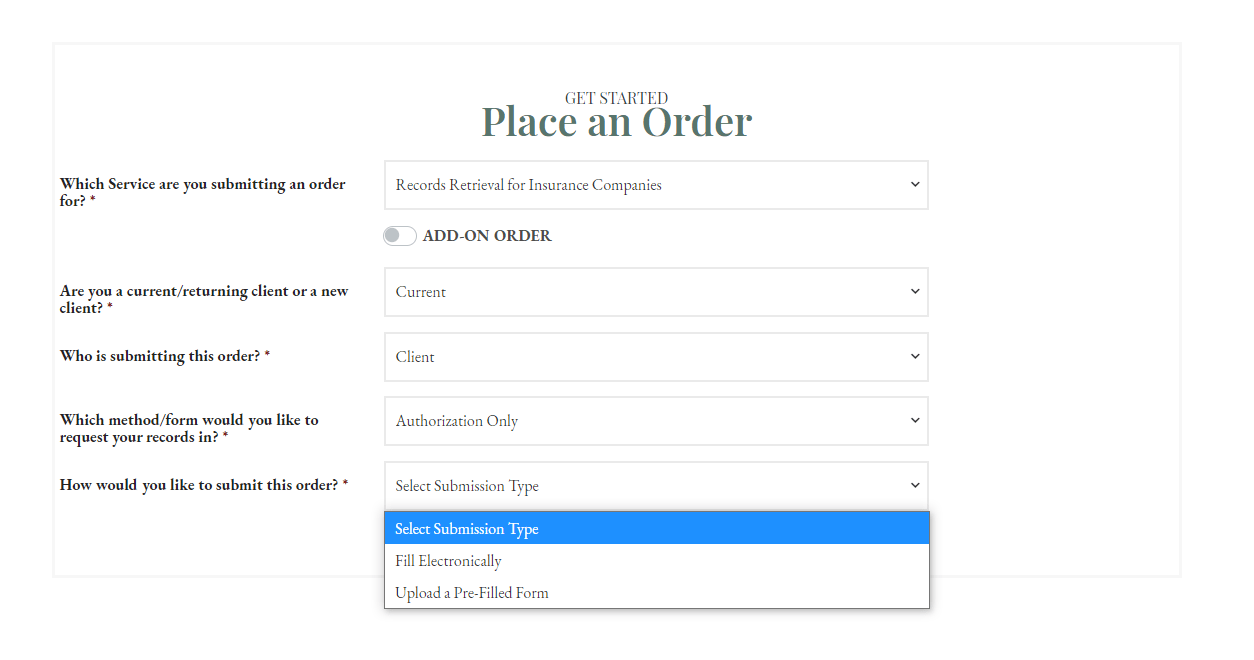 Place an Order - Insurance - Submission Type CROPPED