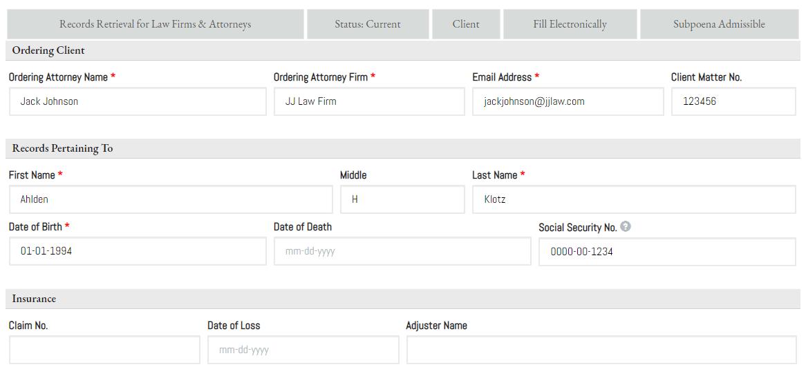 Place an Order -Legal - 1 ORDER DETAILS