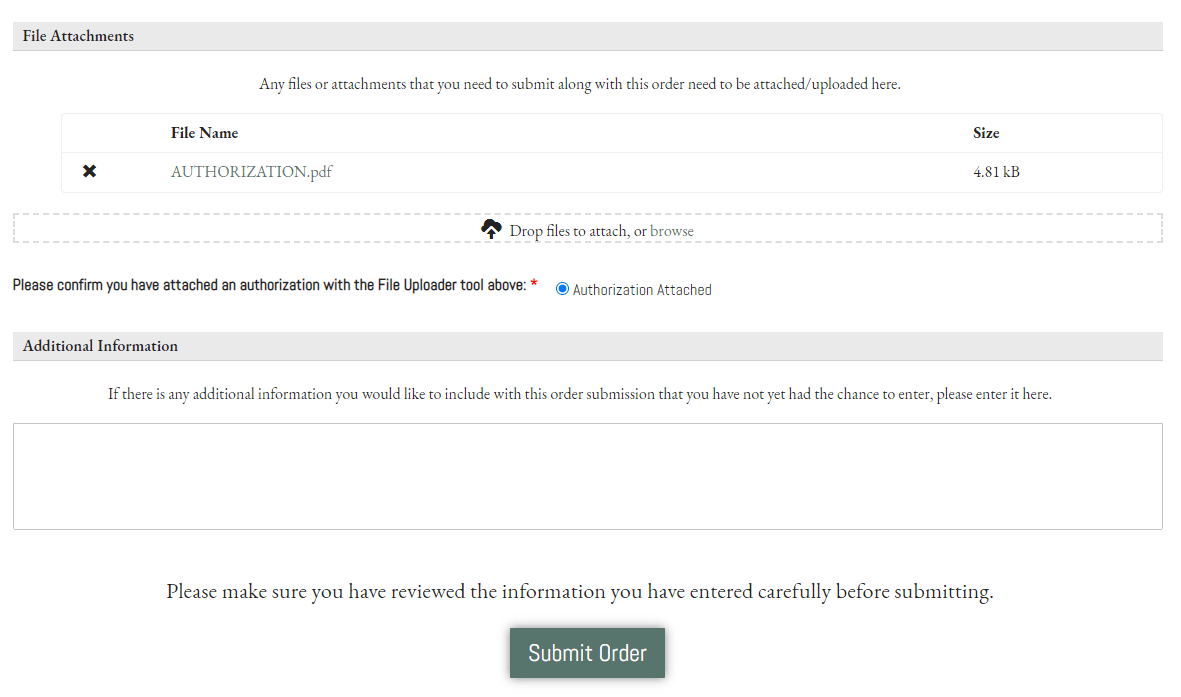 Place an Order -Legal - Auth 3 FILES AND ADDITIONAL INFO