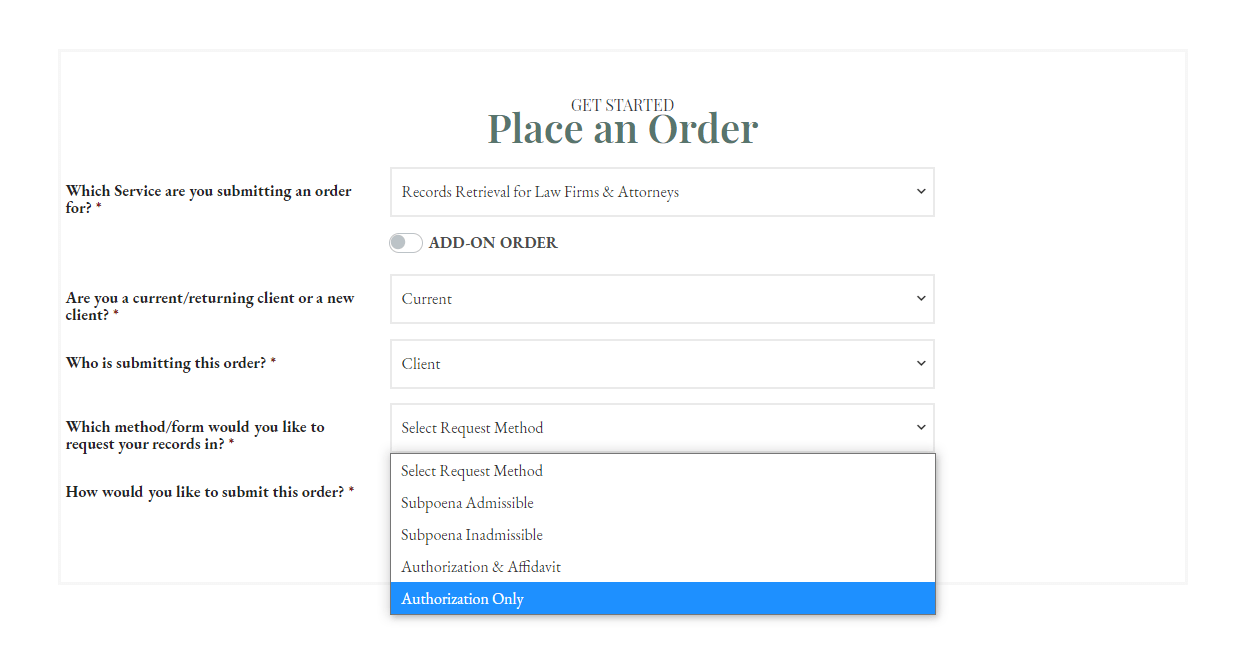 Place an Order - RR Legal - Current - Client - Auth Only CROPPED