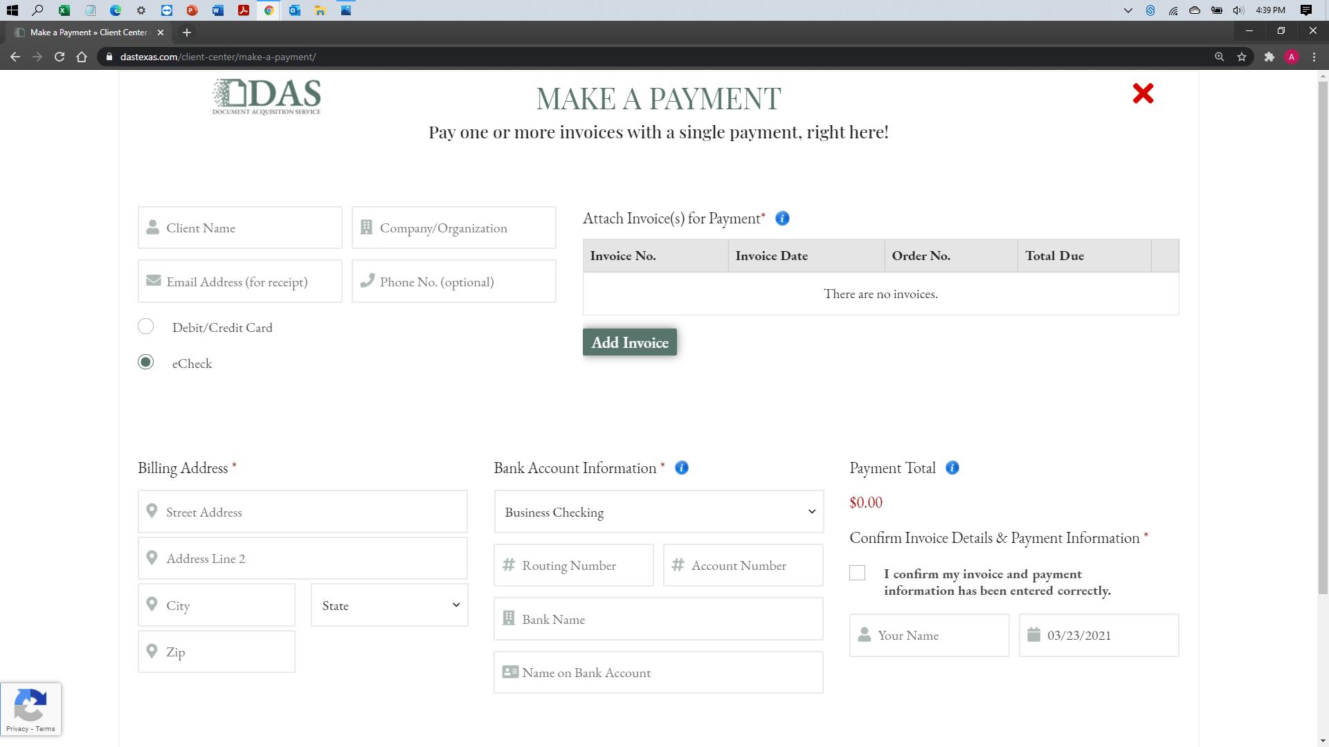 [help docs] Make a Payment - eCheck -Blank