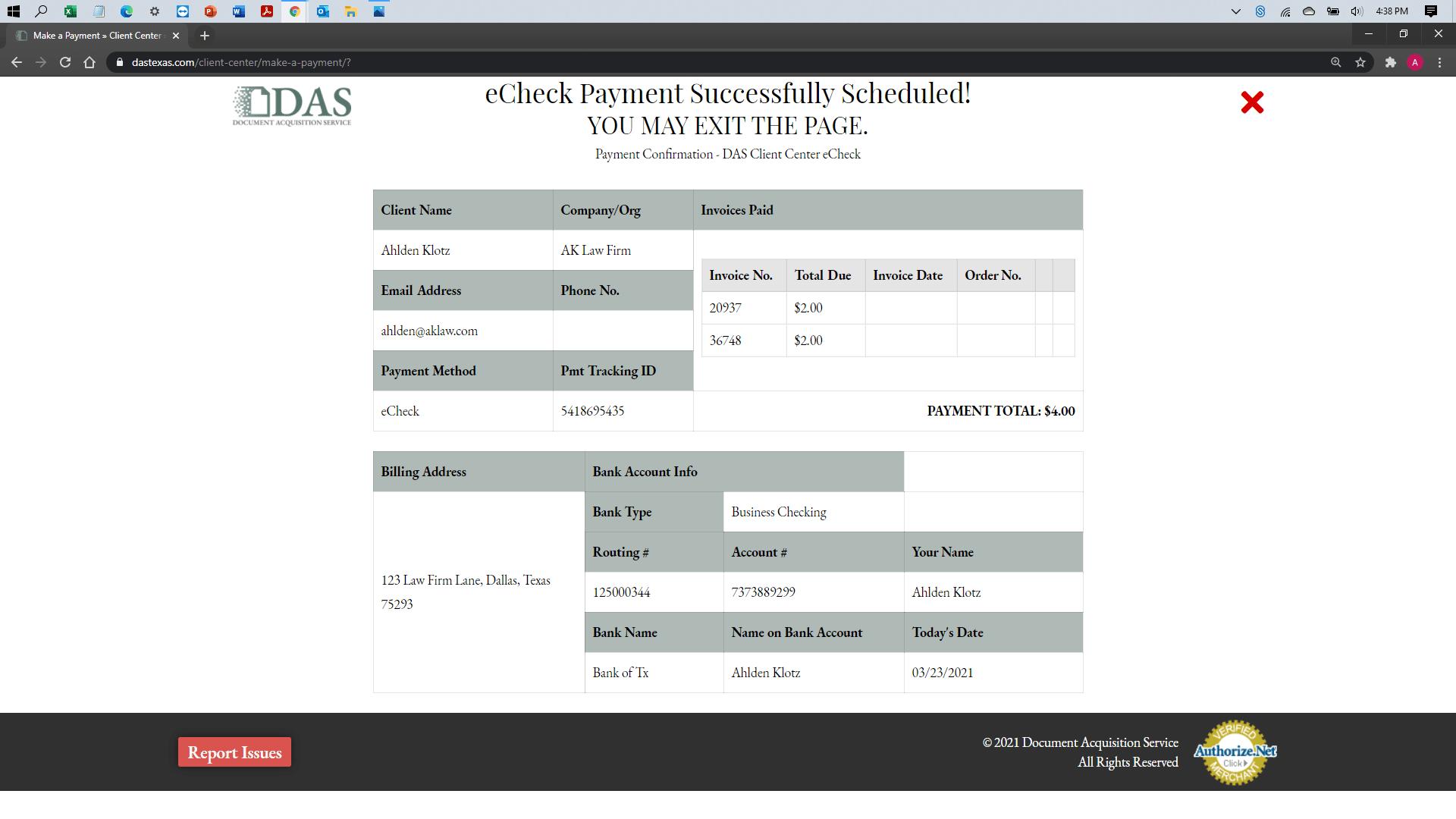 [help docs] Make a Payment - eCheck -Confirmation
