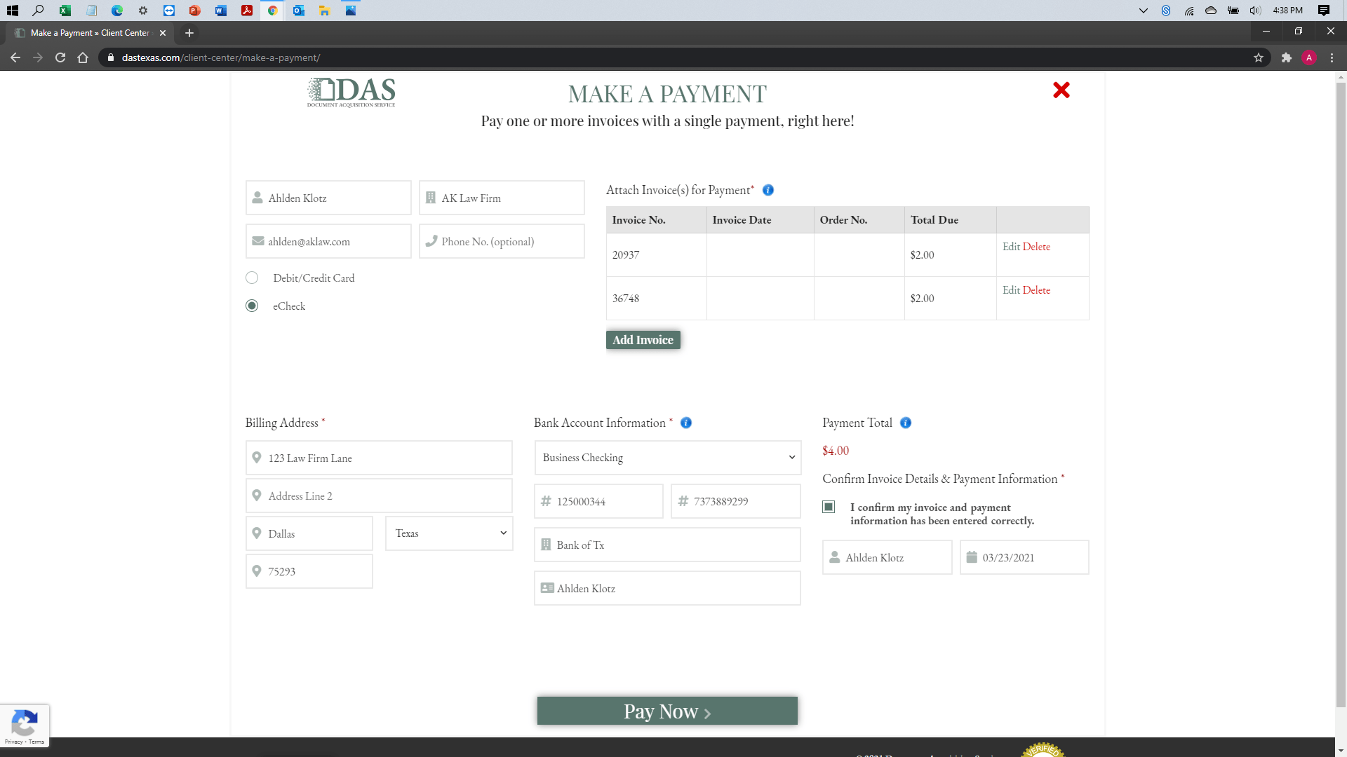 [help docs] Make a Payment - eCheck - Ready to Submit